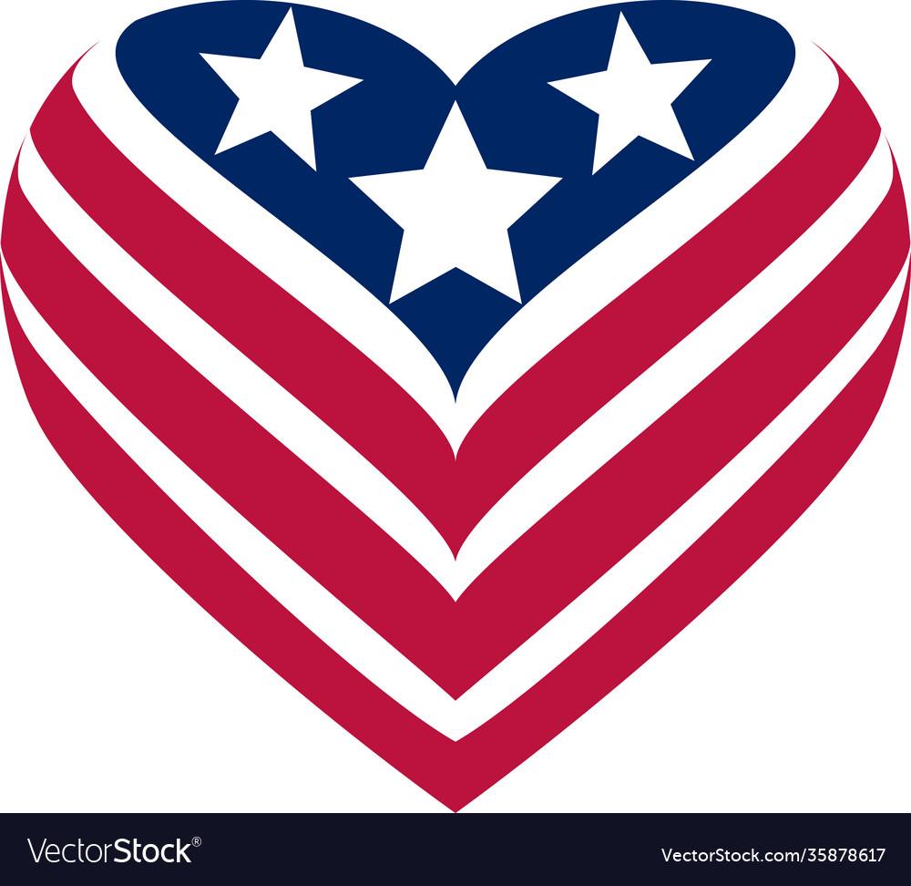 Flag usa heart