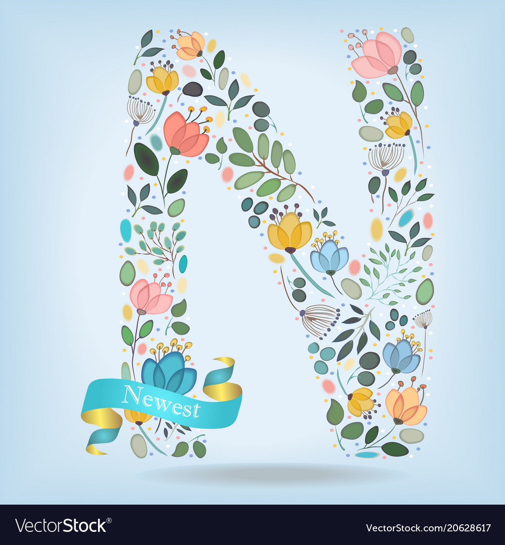 Floral letter n with blue ribbon