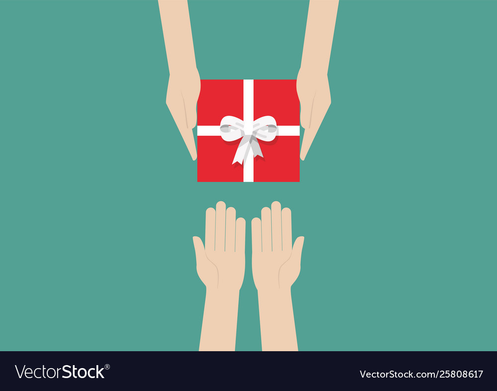 Hands holding gift or present box