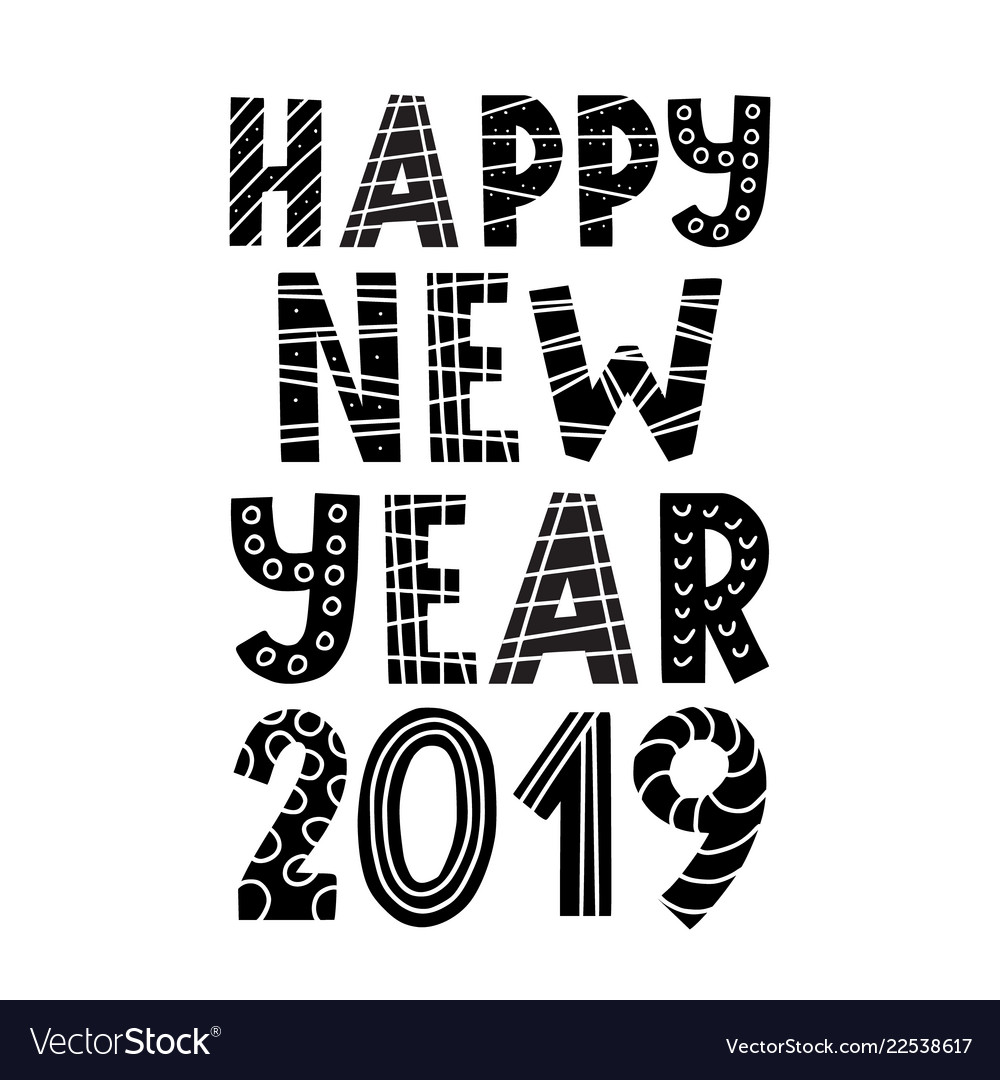 scandinavian style happy new year 2019 greeting vector image