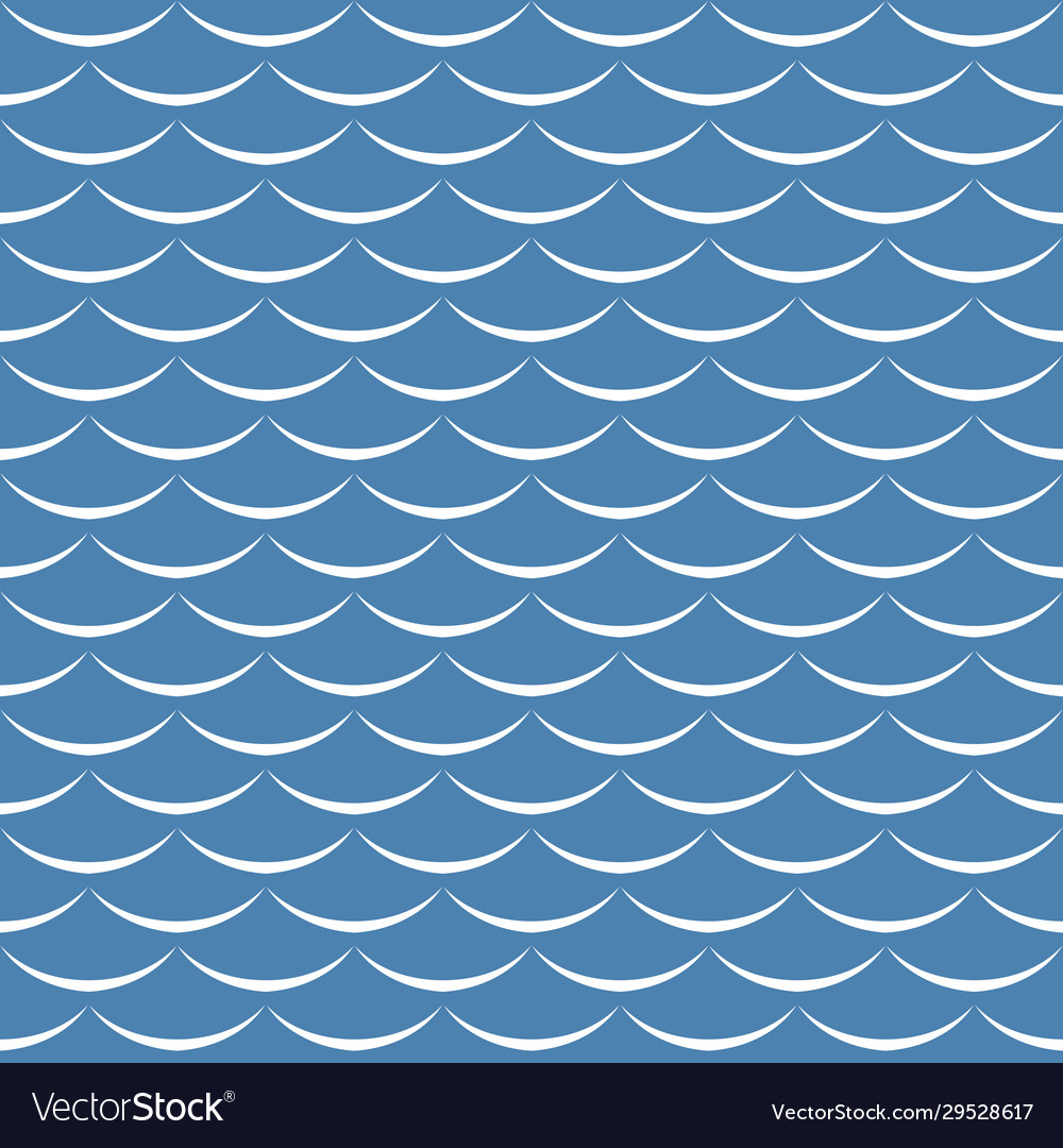 Sea waves blue and white seamless pattern