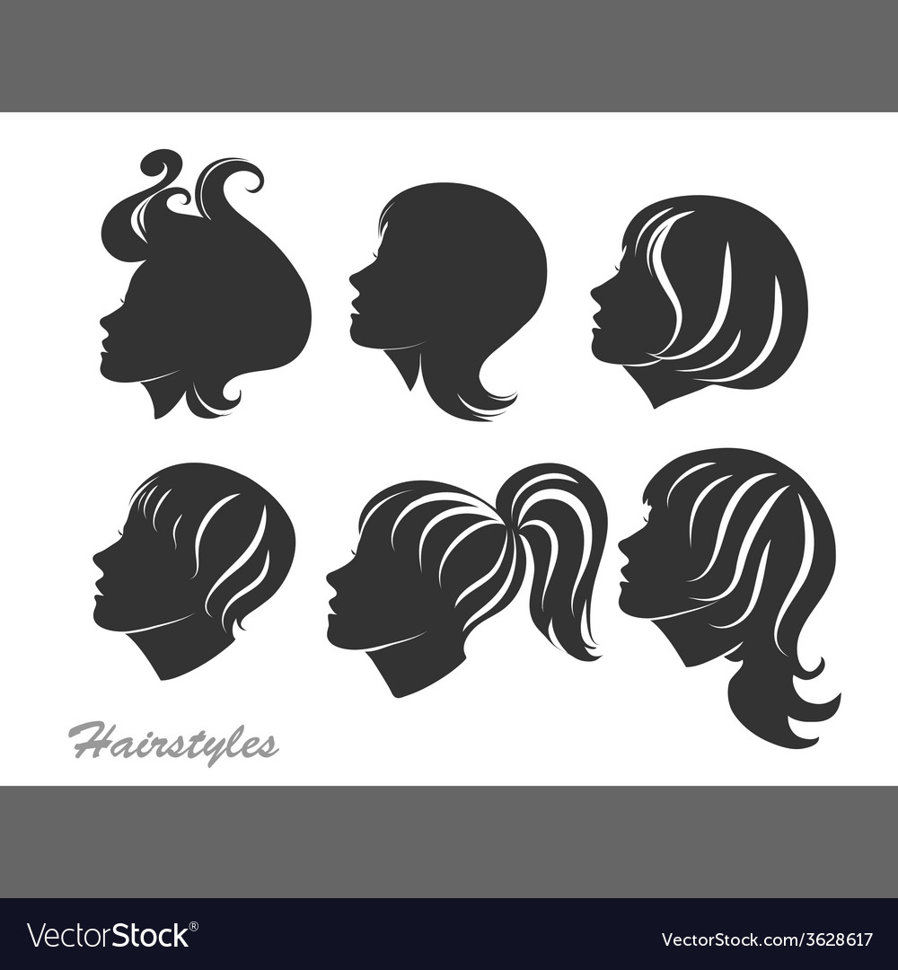 Silhouettes of women with hairstyles for design