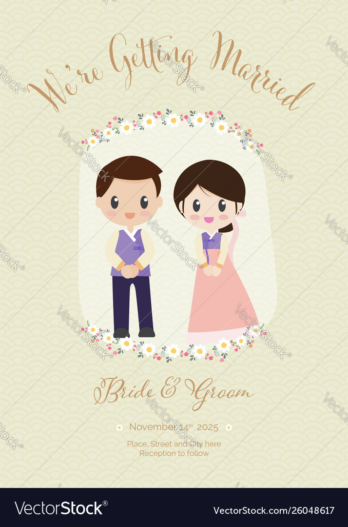 Traditional Korean Wedding Couple Invitation Card