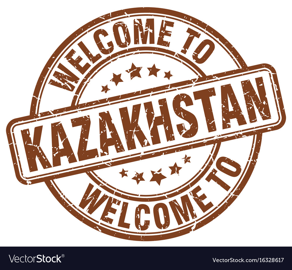 Welcome to kazakhstan brown round vintage stamp