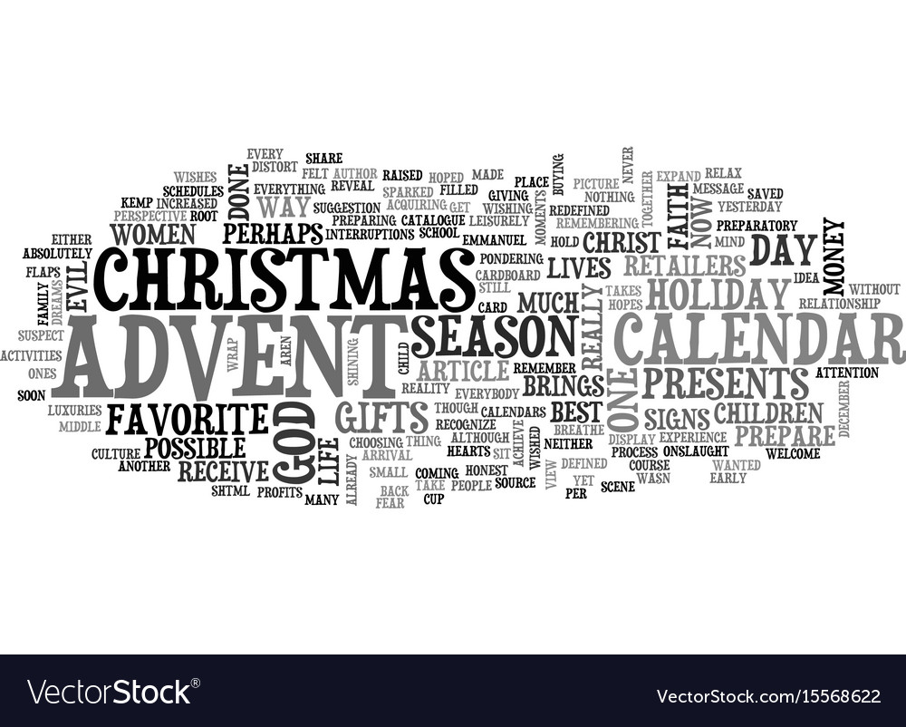 Advent calendar revisited text word cloud concept