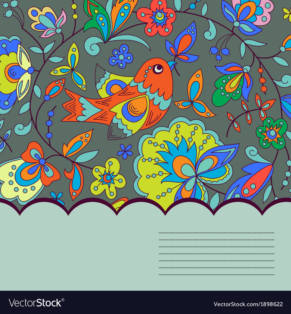 Background with bird plant and flower