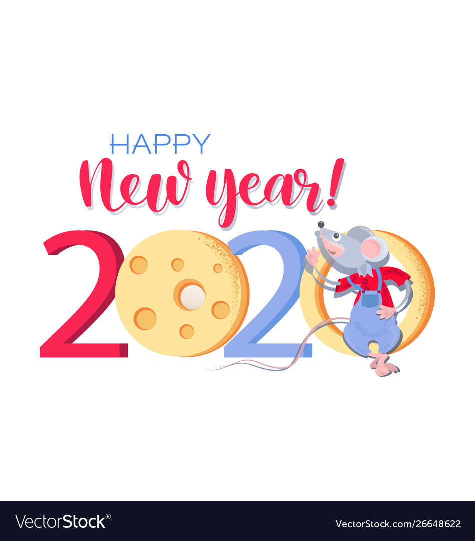 Happy New Year 2020 Funny.Chinese New Year 2020 Greeting Card With Funny Rat