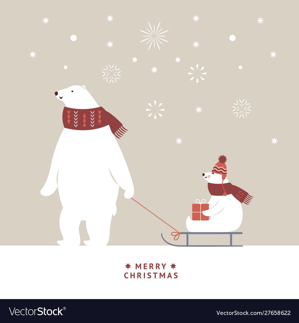 Christmas card white bears is sledding