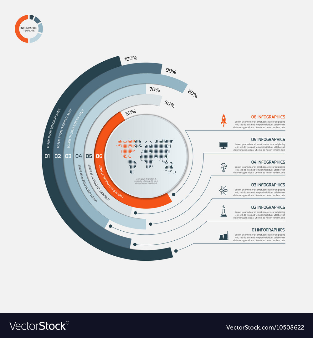Circle infographic template with 6 options