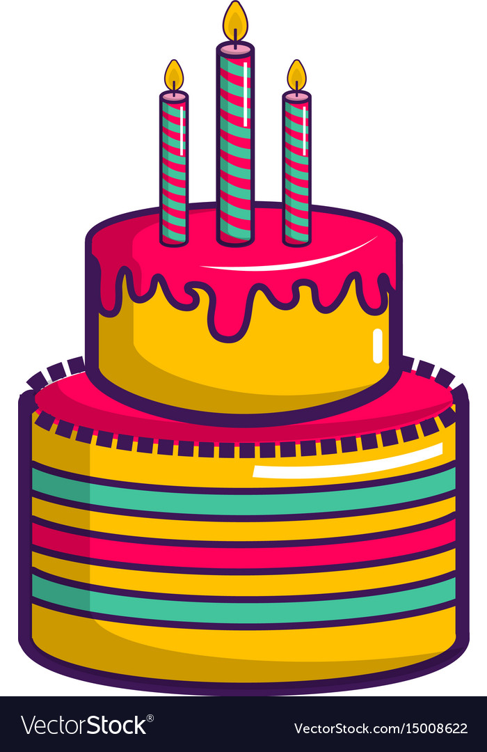 Colorful birthday cake icon cartoon style Vector Image