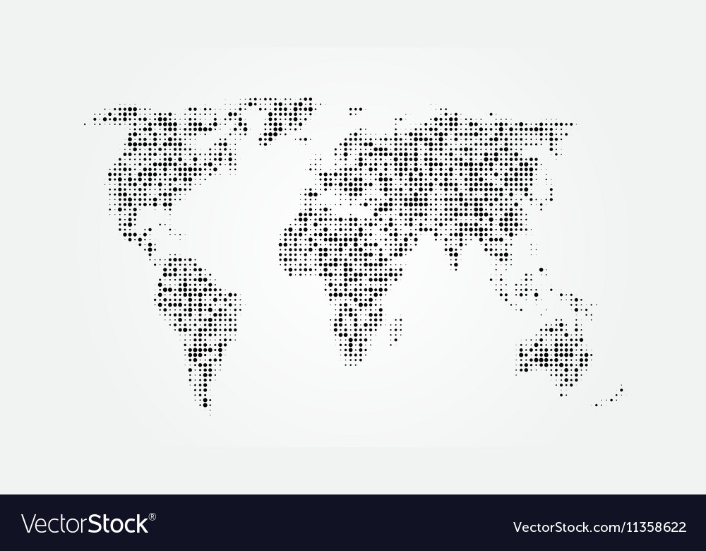 Dotted Abstract World Map With Shadow Template
