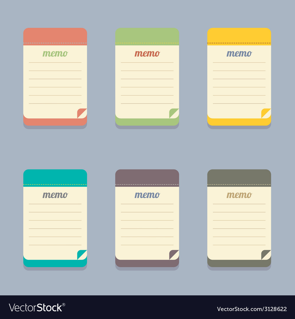 flat design colorful memo royalty free vector image