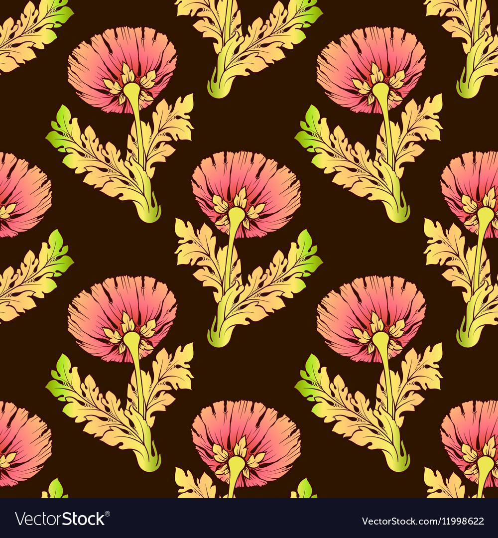 Garden Flowers On Dark Color Seamless Hand Painted