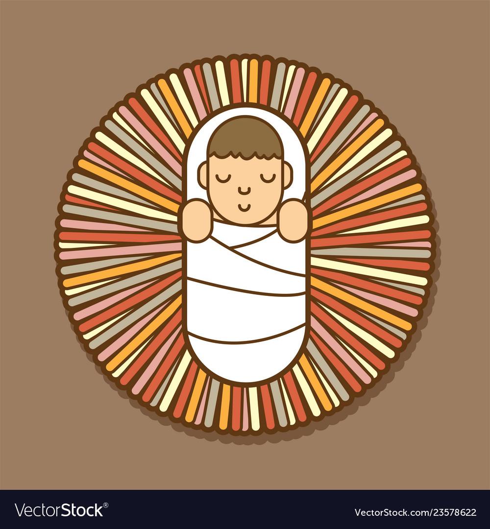 Jesus born in a manger cartoon graphic