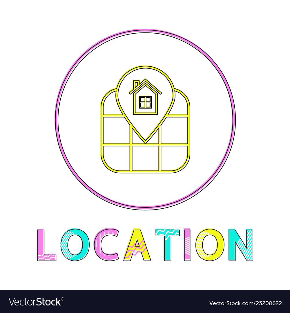 Location identification service linear round icon