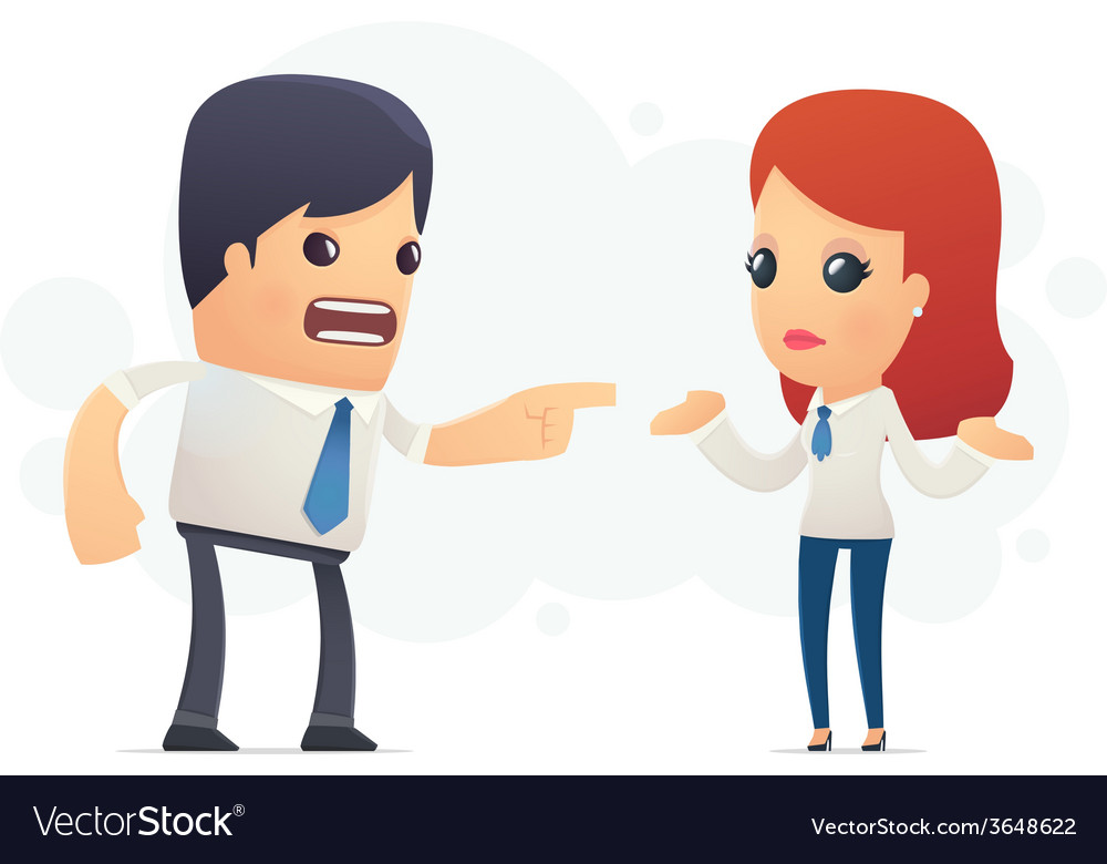 Manager scolds his assistant vector image