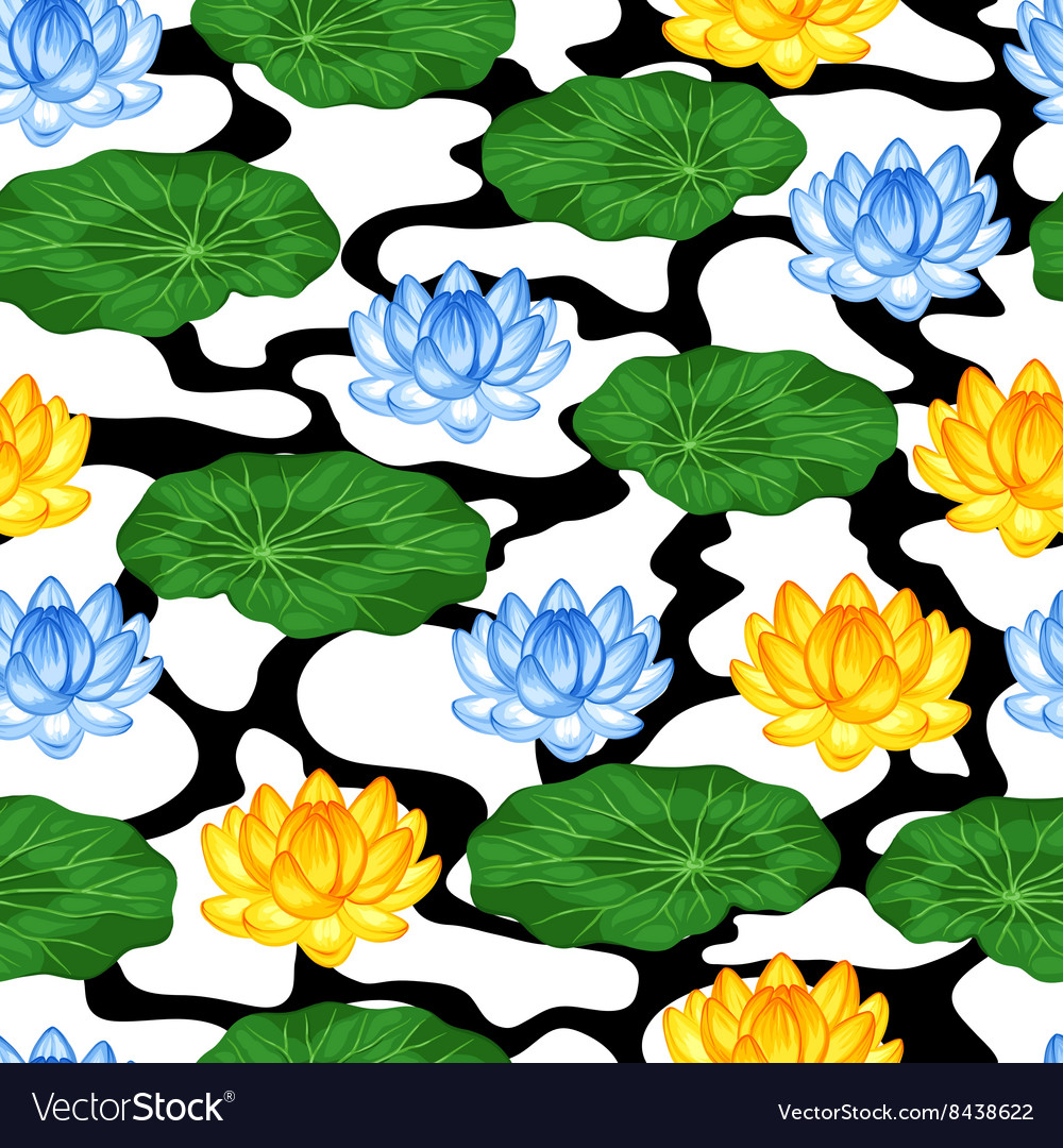 Natural seamless pattern with lotus flowers and