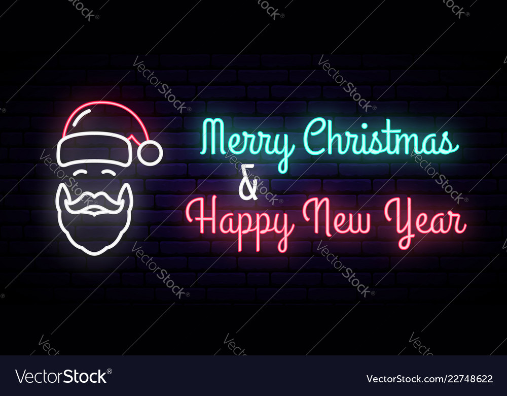 Neon sign with the image of santa claus
