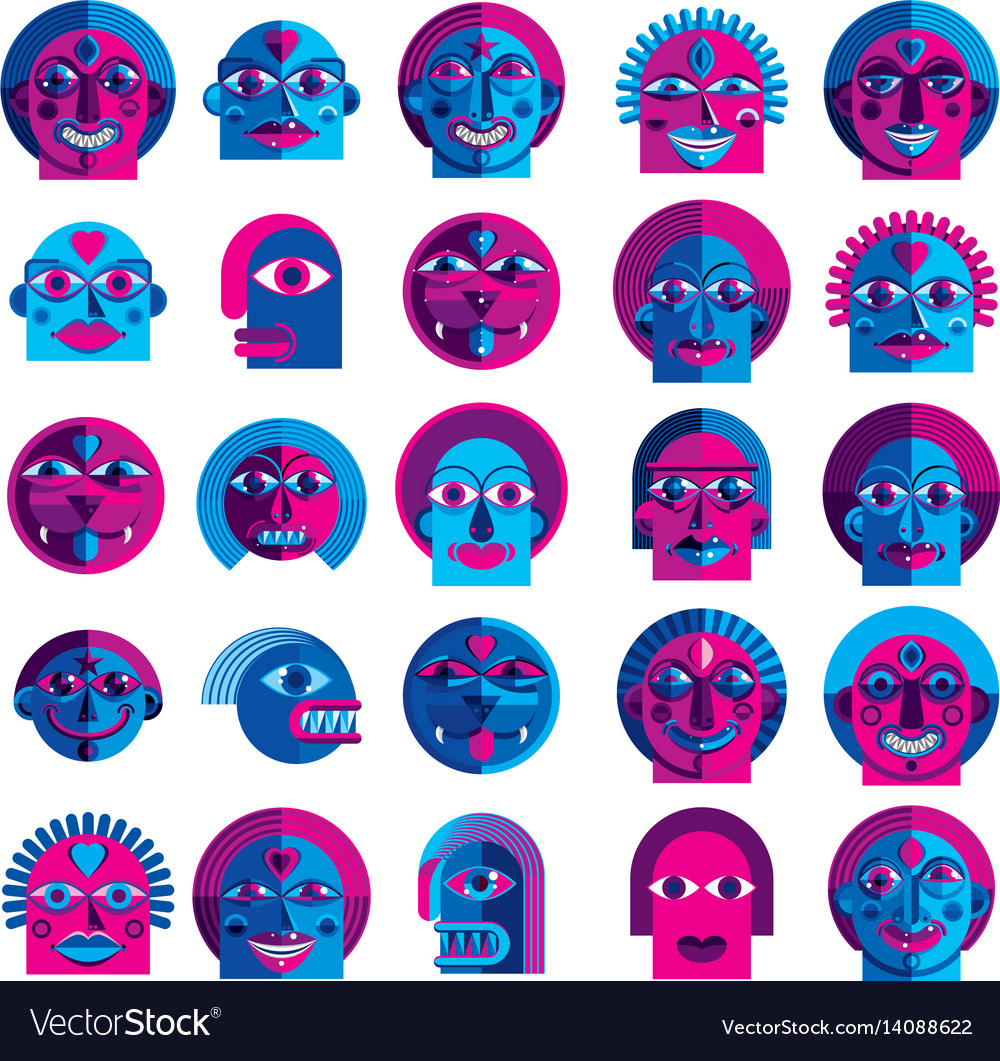 Set of bizarre creatures modern art colorful