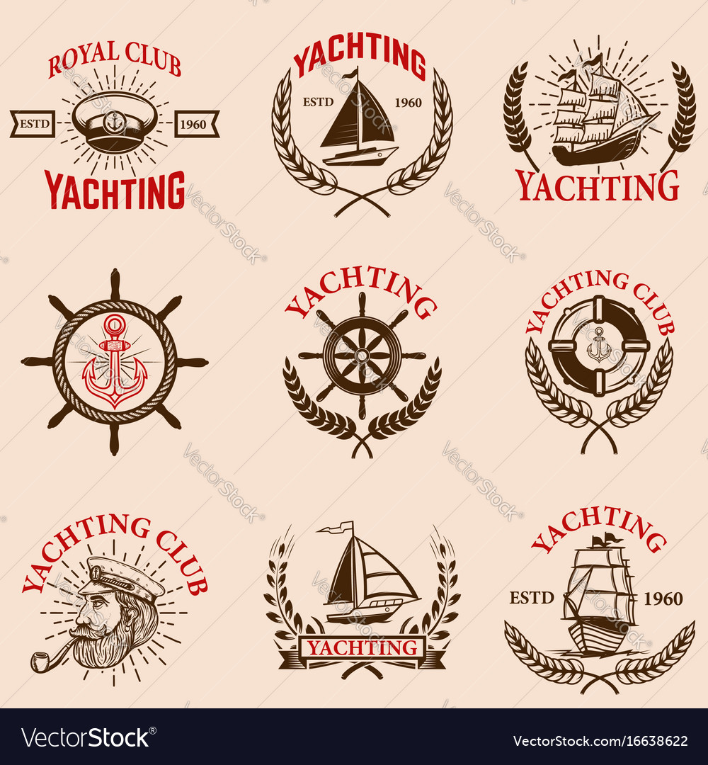 Set of yachting emblems