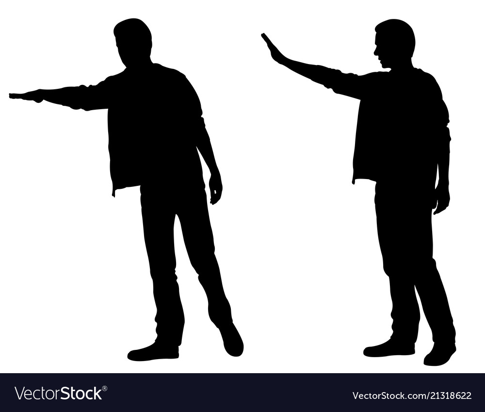 Silhouettes of men calling taxi