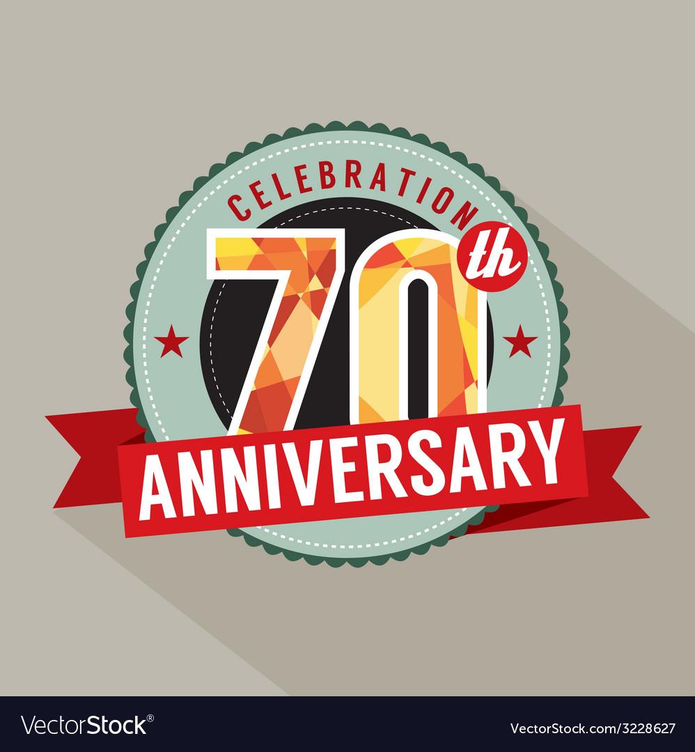 70th Years Anniversary Celebration Design vector image