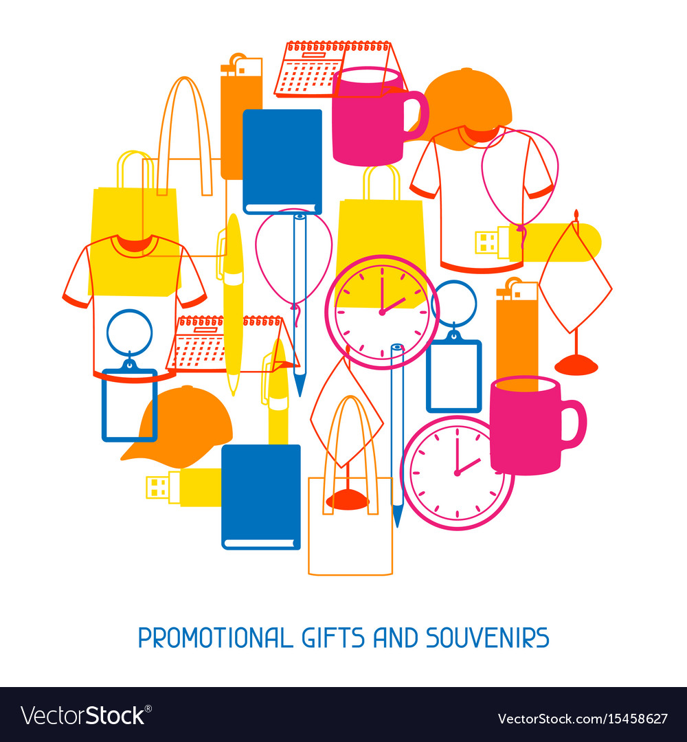 Advertising background with promotional gifts and