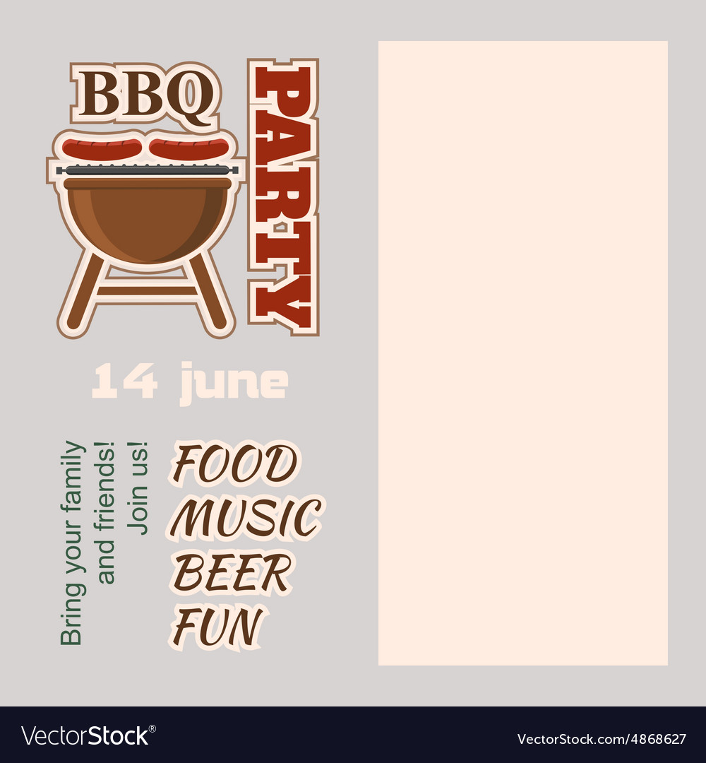 BBQ Party Invitation with copy space vector image