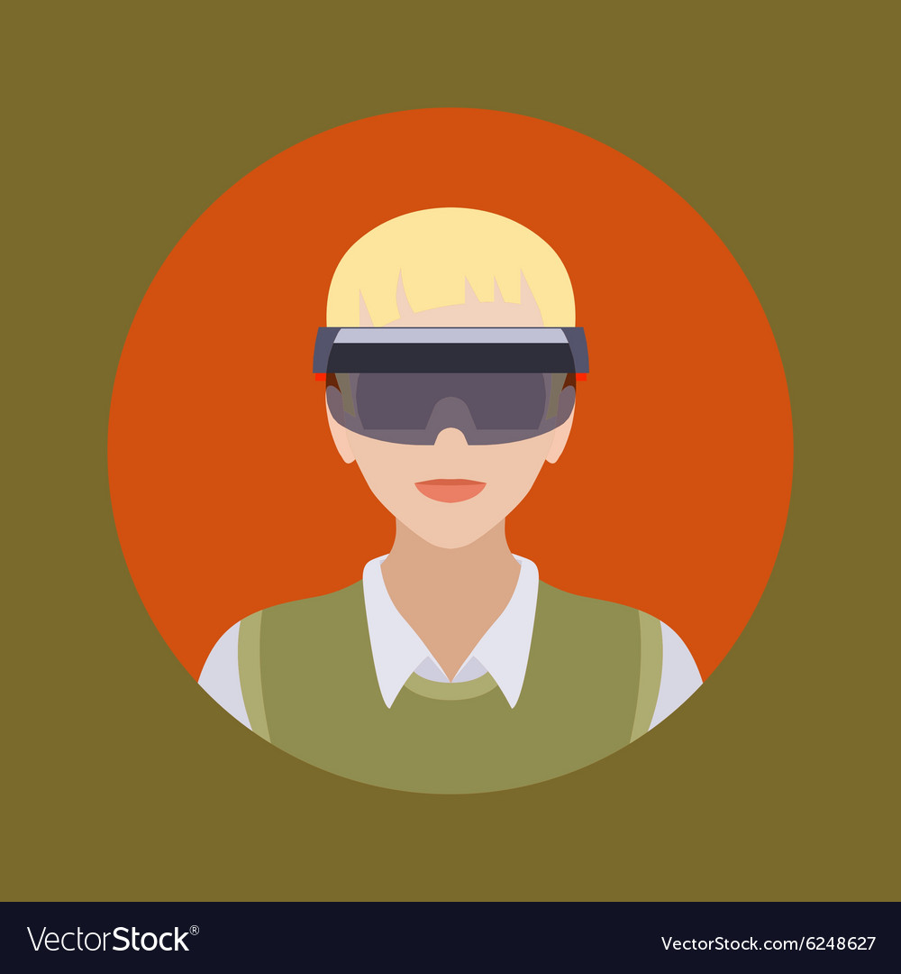 Man in the augmented reality glasses