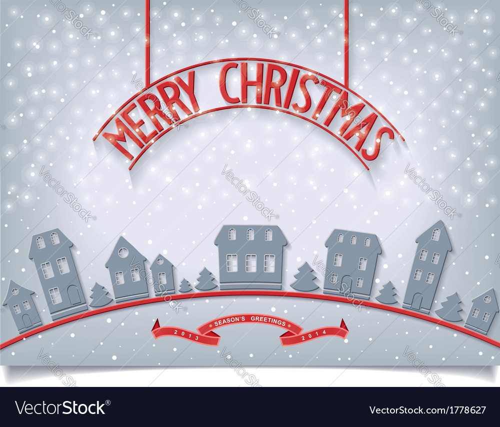 Merry Christmas card with red signboard lettering