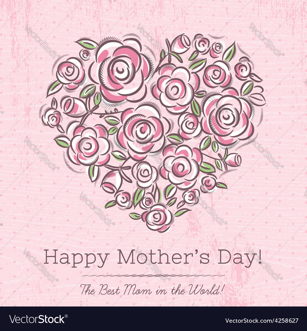 Pink card with heart of flowers for Mothers Day