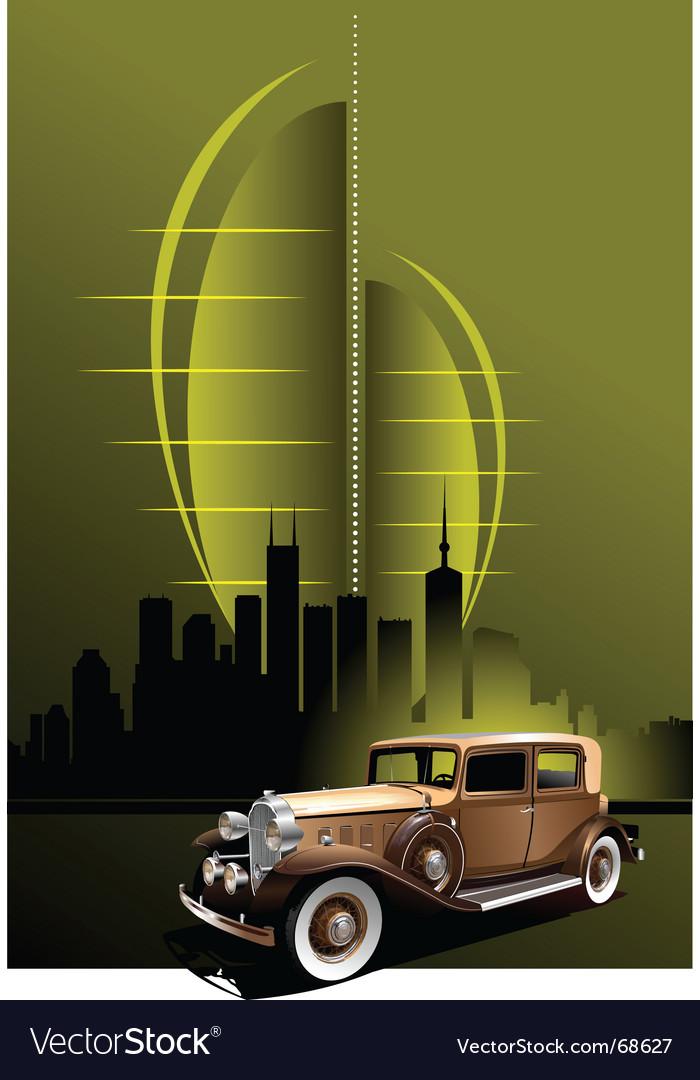 Retro car in futuristic town