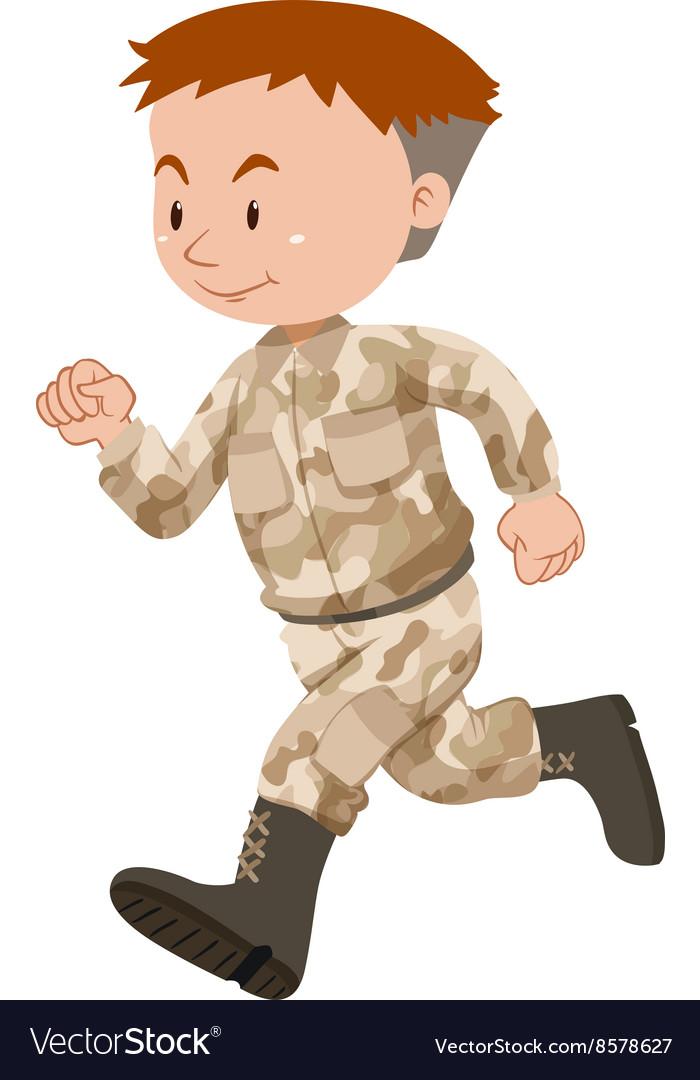 Soldier in brown uniform running