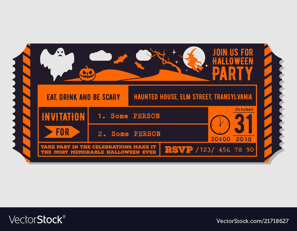 vintage halloween party invitation design vector image