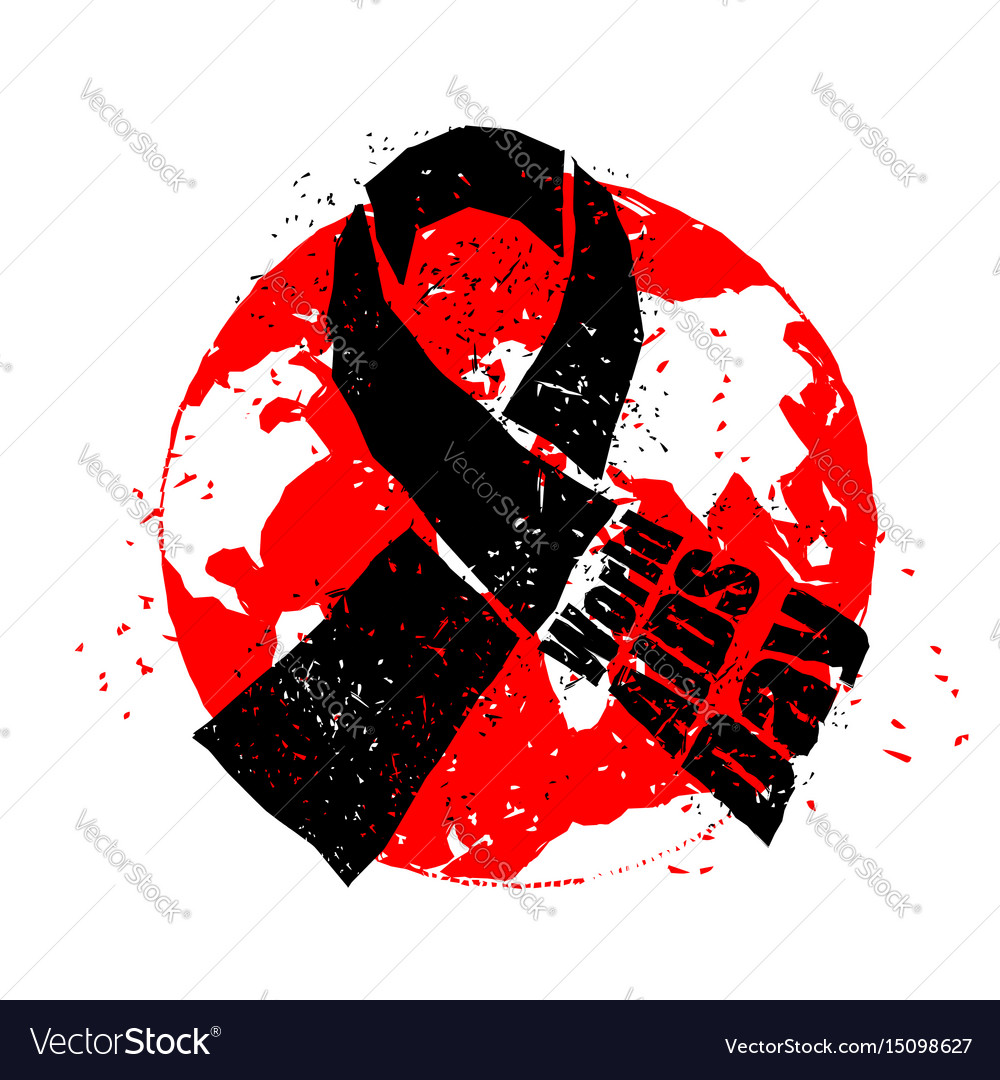 World aids day emblem red ribbon in grunge style