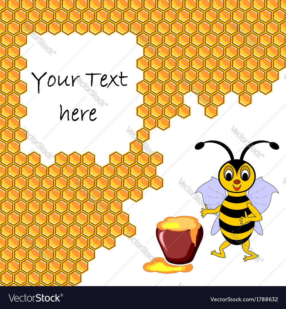 A cute cartoon bee with a honey pot