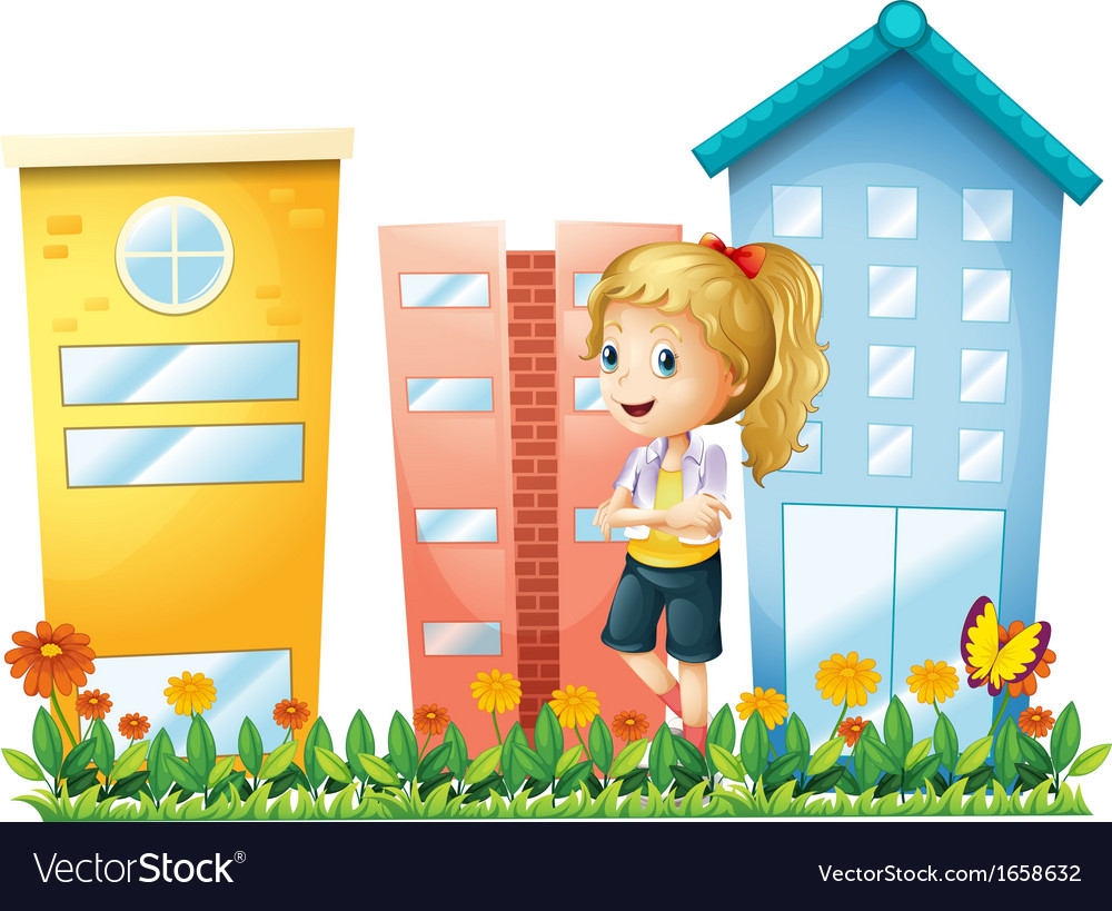 A girl in front of the buildings with a garden