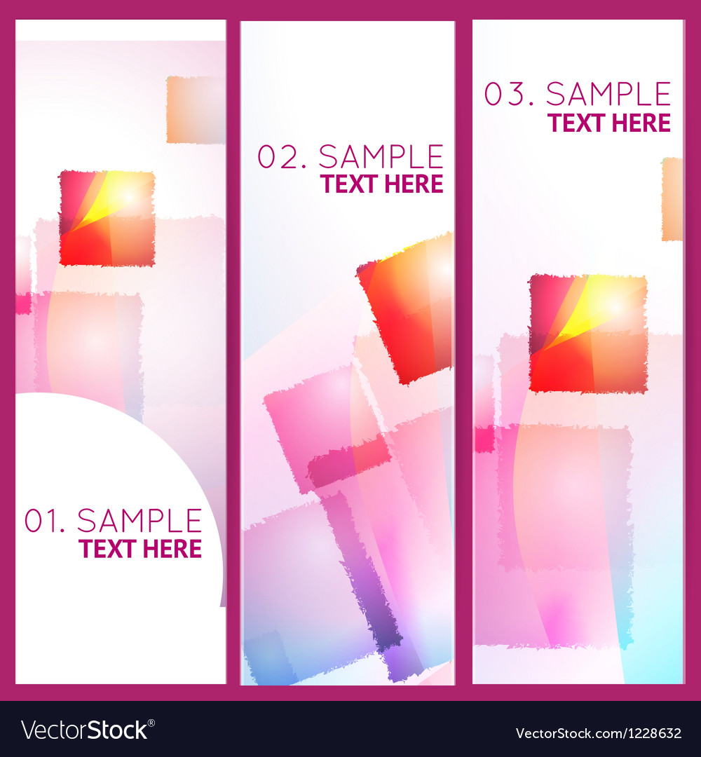 Abstract geometric colorful 3 banners