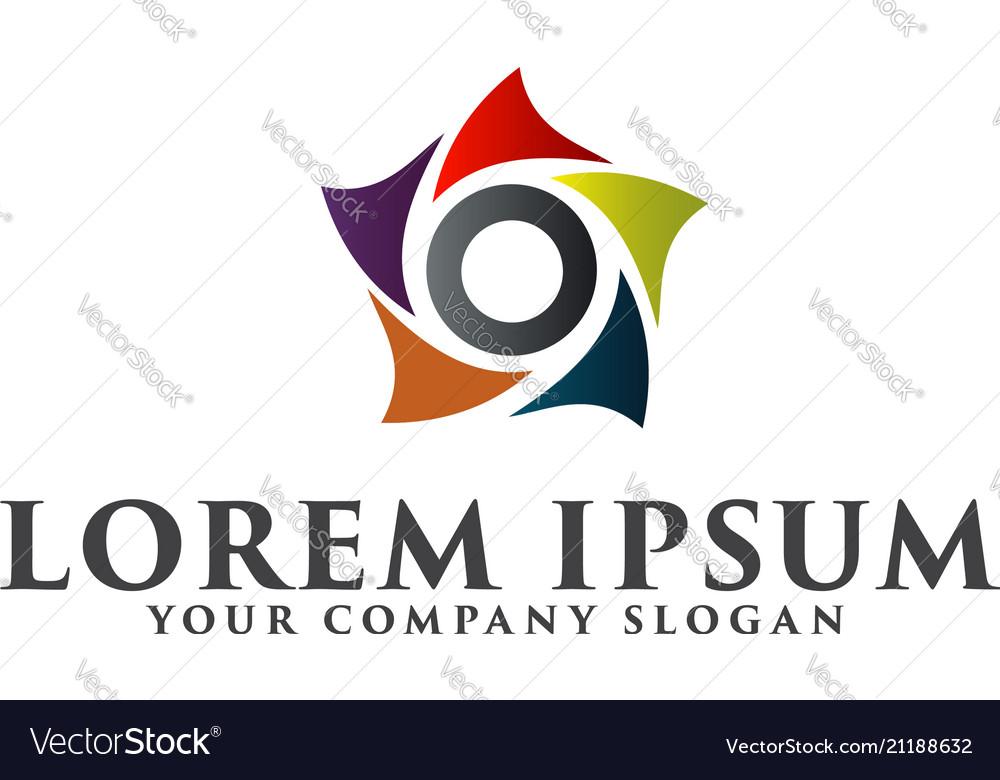 Abstract star logo design concept template