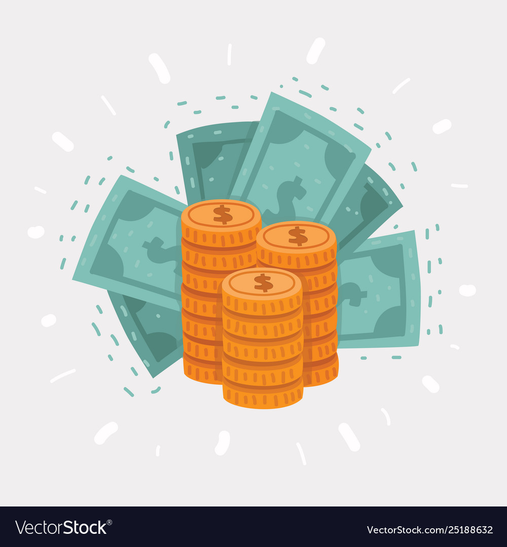 Big stack golden coins and dollar