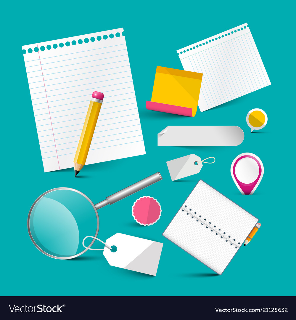 Blank notebook papers and office items stationery