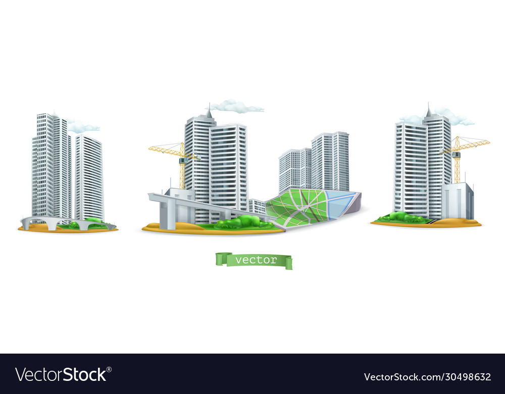 City buildings 3d icon set