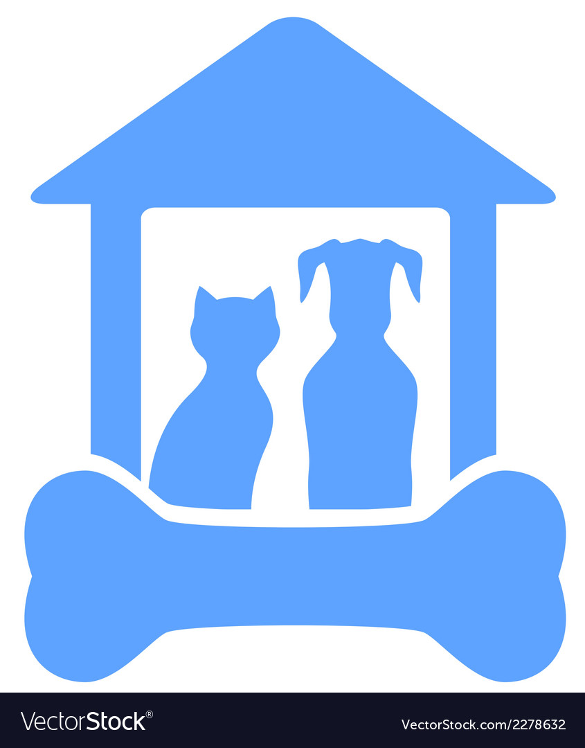 Dog and cat on home with bone silhouette