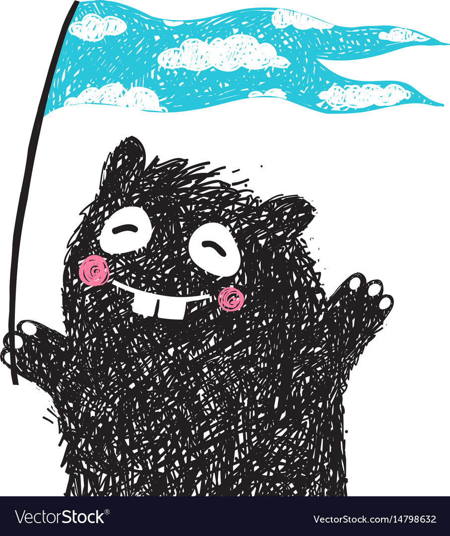 Funny monster with flag greeting