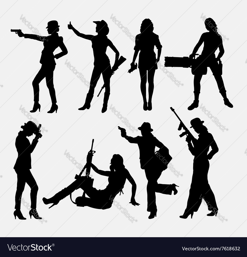 Girl and weapon sexy pose silhouette
