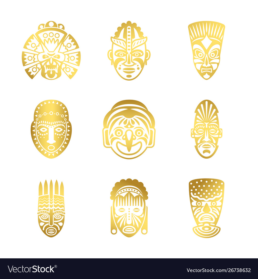 Gold tribal mask icons ethnic masks