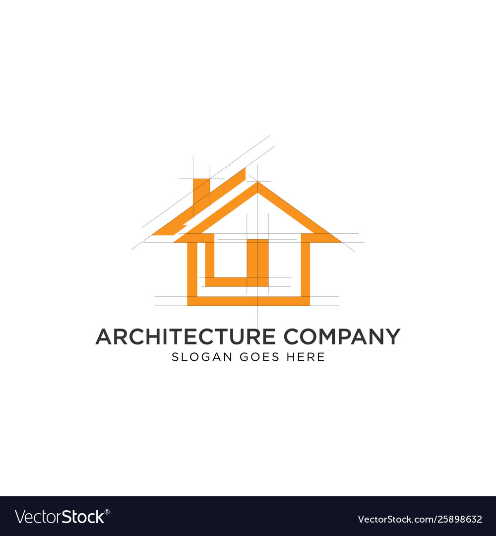 House architecture logo design with grid line