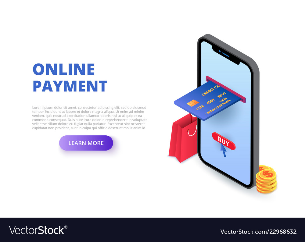 Online payment design concept with sitting man