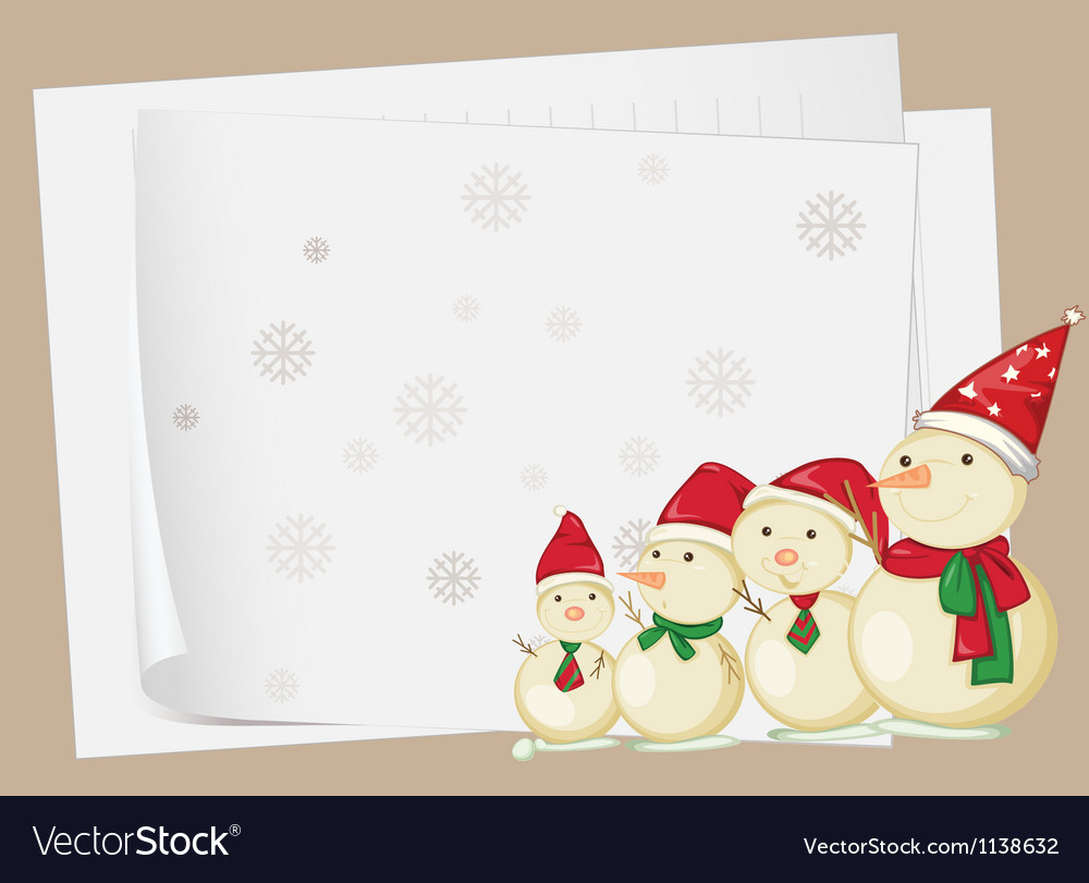 Paper sheets and snowmen vector image