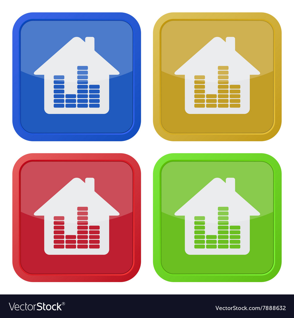 Set of four square icons - house with equalizer